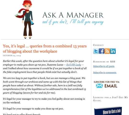 Screen capture of a post from Ask A Manager