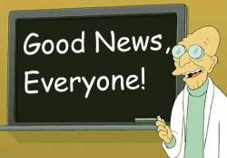 """Futurama's Dr. Farnsworth with """"Good News, Everyone!"""" on chalkboard"""