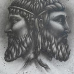 Mural of the two faces of the Roman god Janus
