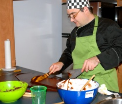 Olivier Piffaudat making chocolate at a home course