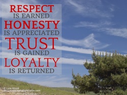 Respect is earned honesty is appreciated quote on a blue sky