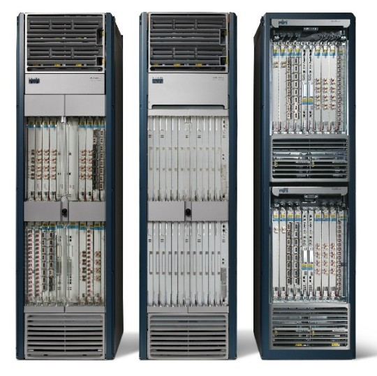 Three 16-slot Cisco CRS-1 routers