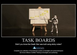 Storm Trooper point at a Scrum Board