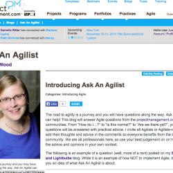 Ask An Agilist on projectmanagement.com