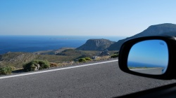 View forward and in rear view mirror