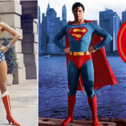 Superman and Wonder Woman pose