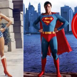 Superman and Wonder Woman pose